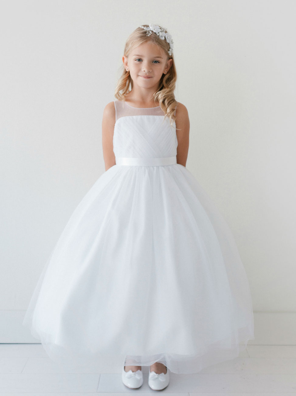 Tt 5709 Girls Dress Style 5709 Pleated Organza Dress