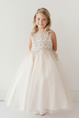 c1100f0d3cb Champagne. Girls Dress Style 5717 - IVORY- GOLD Sleeveless Embroidered  Bodice Dress In Choice of Color