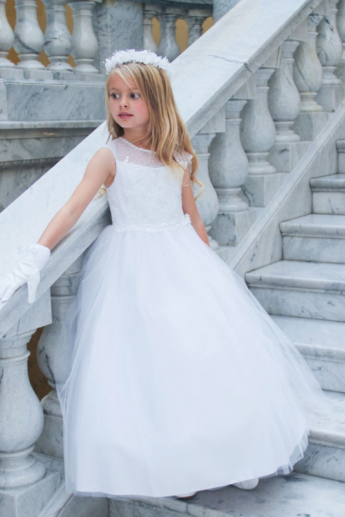 TT_5721W - Girls Dress Style 5721 - WHITE Cap Sleeve Embroidered ...