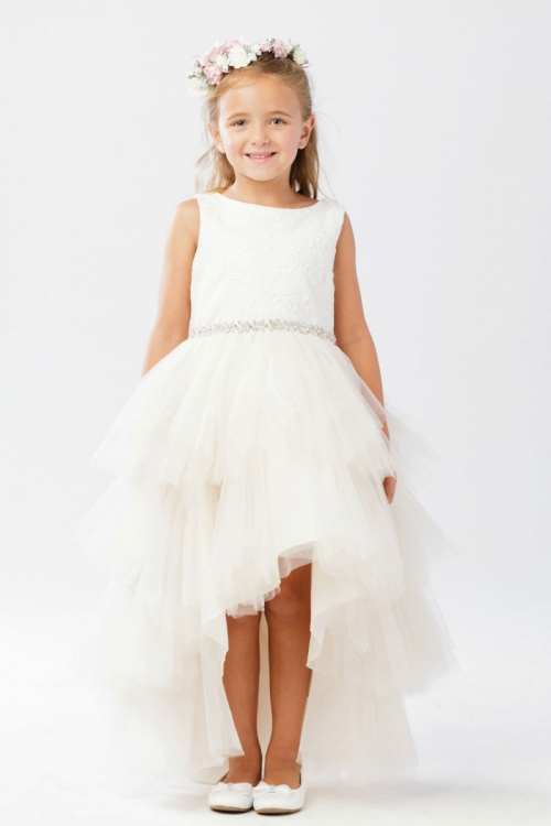 1bc870ddc7ef TT 5722CH - Girls Dress Style 5722 - Satin and Tulle High-Low Dress ...