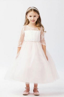 Rose flower girl dresses flower girl dress for less girls dress style 5724 three quarter length sleeve lace and tulle dress in choice of mightylinksfo