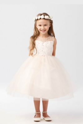 Rose flower girl dresses flower girl dress for less girls dress style 5727 illusion bodice dress with heart keyhole back in choice of color mightylinksfo