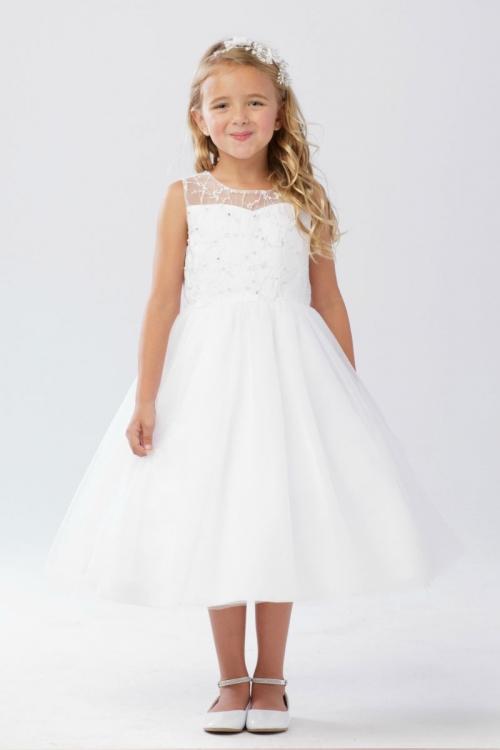 625c3abb58dd TT 5727 - Girls Dress Style 5727 - WHITE Illusion Bodice Dress with ...
