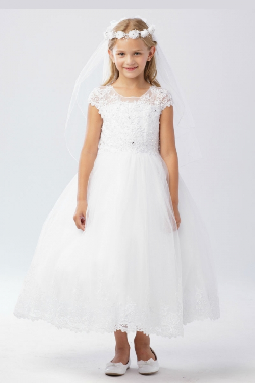 09299f315bf Girls Dress Style 5730 - WHITE Capped Sleeve Lace and Embroidery Tulle Dress