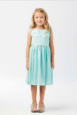 375c1a8d7b Girls Dress Style 5733 - AQUA- Capped Sleeve Crepe Dress with Beaded Accents