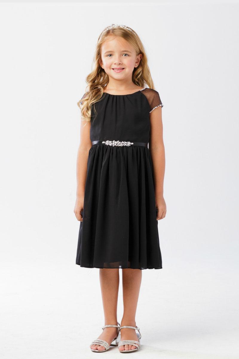 Tt 5733b Girls Dress Style 5733 Black Capped Sleeve