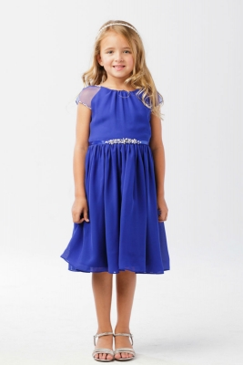 55a887e3a08 Girls Dress Style 5733 - ROYAL- Capped Sleeve Crepe Dress with Beaded  Accents