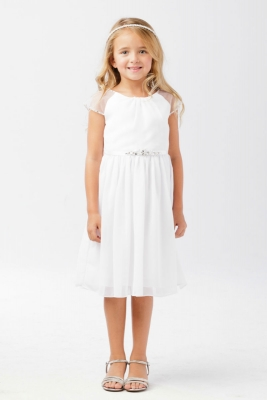 3476651592 Girls Dress Style 5733 - WHITE- Capped Sleeve Crepe Dress with Beaded  Accents