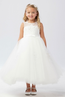 d6d50bb773a Girls Dress Style 5737 - Sleeveless Illusion Bodice Dress with Appliques In  Choice of Color