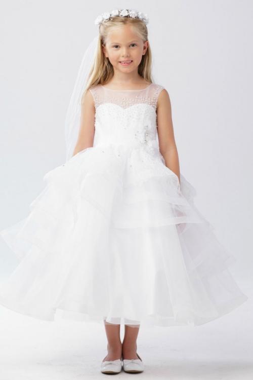 TT_5742 - Girls Dress Style 5742 -WHITE Beaded Illusion Neckline ...