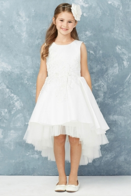 80fb08495e8 Girls Dress Style 5760 - Embroidered Satin High Low Dress in Choice of Color