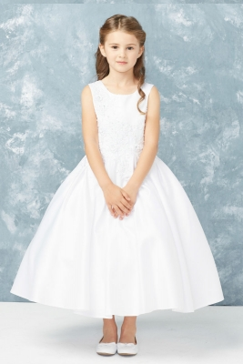 fa3d991e11a Girls Dress Style 5765 - Sleeveless Embroidered Satin Dress in Choice of  Color