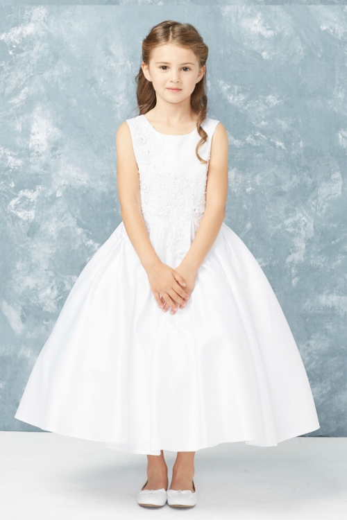 34feca7b23d Girls Dress Style 5765 - Sleeveless Embroidered Satin Dress in Choice of  Color