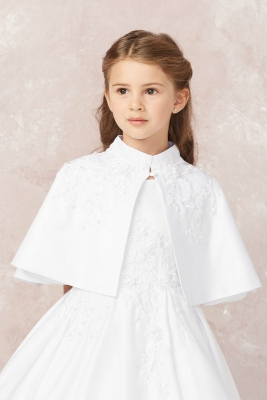 Girls WHITE Faux Fur Communion and Flower Girl Cape. SNS307