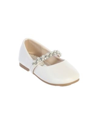 cc5ab730503 Girls Shoe Style S116 - Infant and Toddler Shoe with Rhinestone and Pearl  Strap in Choice