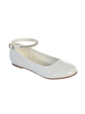 Girls Childrens White Heeled Shoes Socks Hair Clip 1st Communion Flower Girl