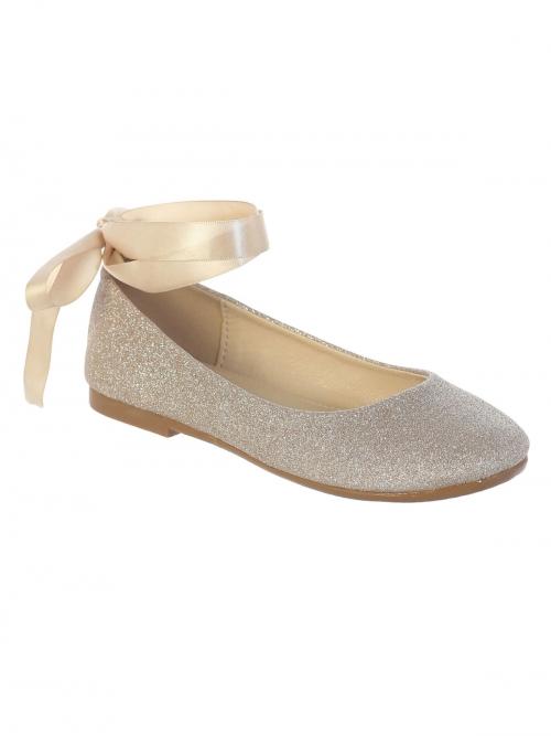 TT S128GD - Girls Shoe Style S128 - ROSE GOLD- Big Girls Shoe Sparkle Lace  Up Ballet - Tip Top Kids - Flower Girl Dresses - Flower Girl Dress For Less 183e26adb27a