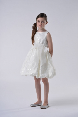 15a5df0c06 Us Angels Flower Girl Dress Style 121- Ivory Only - Sleeveless Embroidered Satin  Dress-