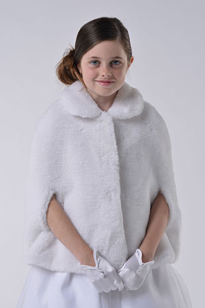 Ua 341 Us Angels Faux Fur Cape Style 341 White Only