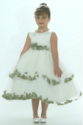 bcacdf20141 Flower Girl Dress-5251 Ivory Sleeveless Double Layer Satin And Tulle with  Sage Green Petal