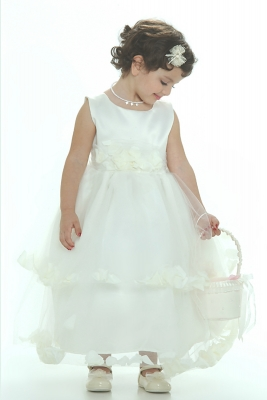7d7545c0892 Flower Girl Dress-5251 Ivory Sleeveless Double Layer Satin And Tulle Ivory  Petal Dress