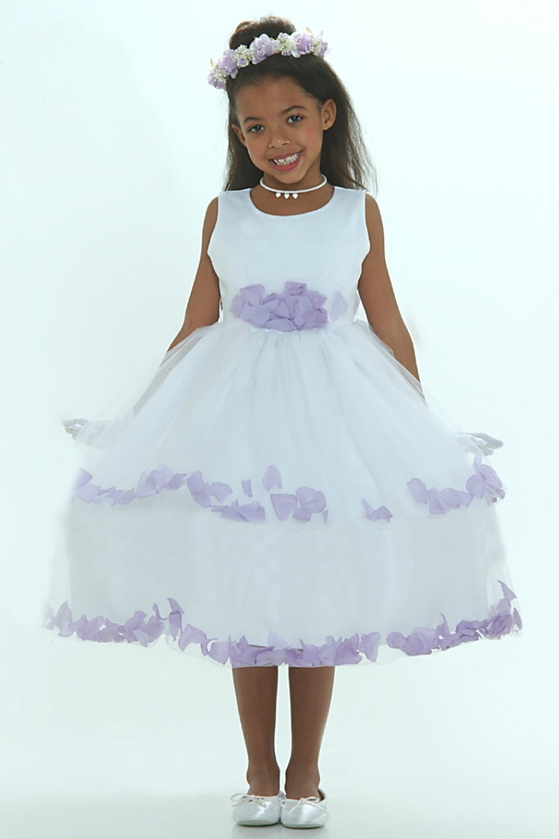 Tt5251l Flower Girl Dress 5251 White Sleeveless Double Layer