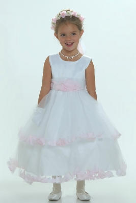 f5a0feb181a Flower Girl Dress-5251 White Sleeveless Double Layer Satin And Tulle with  Pink Petal Dress
