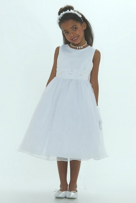 Flower Girl Dress Style 6036- WHITE- Simple Organza Dress With Hand Beaded  Satin Belt