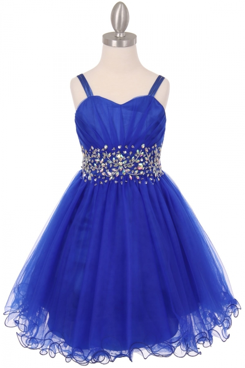 c3faf991be5 Girls Dress Style 65008 - ROYAL BLUE Spaghetti Strap Rhinestone Dress with Corset  Back