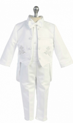e56db59b98 Boys Baptism and Christening Outfit Style TX116- White-Silver 5 Piece Tuxedo  Set with