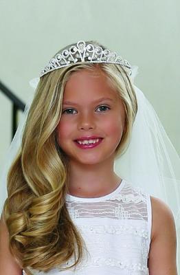 New Girls Rhinestone First Communion White Veil Tiara Headpiece Princess Wedding