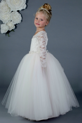 849482a7f43 Designer Amalee Girls Dress Style FG133-LS- Long Sleeved Lace and Tulle  Princess Dress