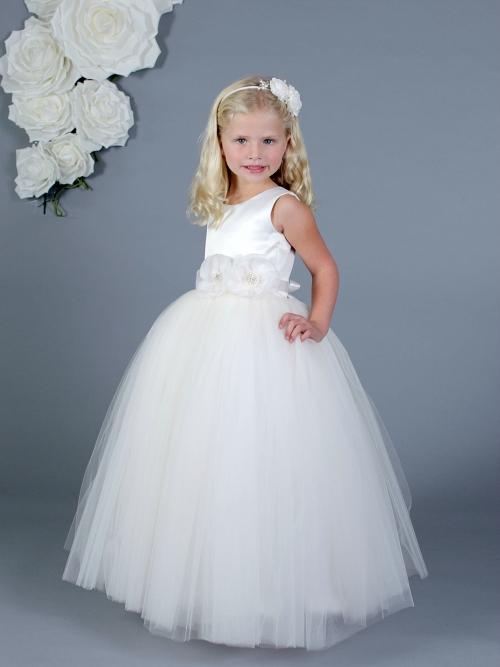 55bed6afff AM FG700 - Designer Amalee Girls Dress Style FG700- Sleeveless Satin and  Tulle Princess Dress - Amalee - Flower Girl Dresses - Flower Girl Dress For  Less
