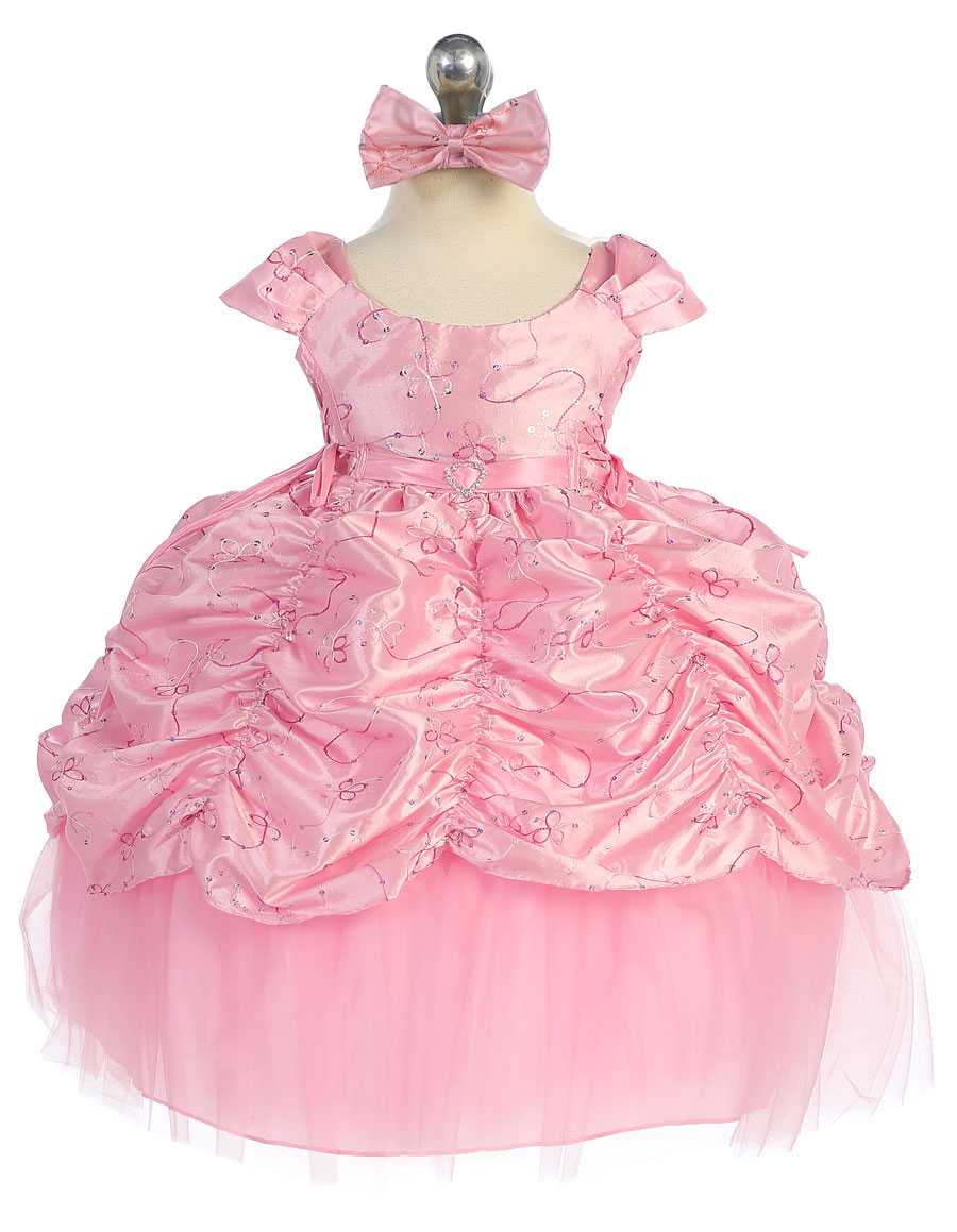 0c50672f29 CA D596P - Girls Dress Style 596 - PINK Short Sleeve Satin Dress ...