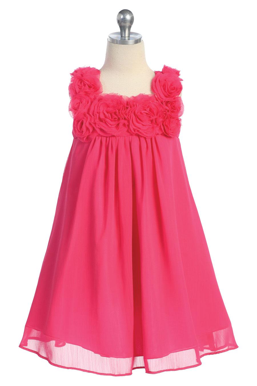 CA_C611FUS - Girls Dress Style 611- FUCHSIA-Sleeveless Chiffon ...