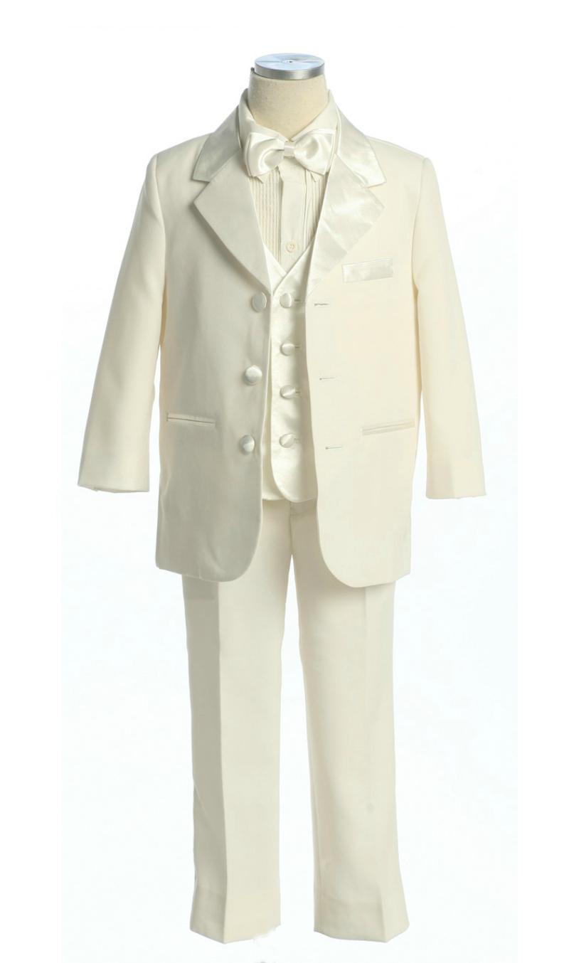 1d162108a3 White Silver. Boys Suit Style 4003- 5 Piece Tuxedo Set