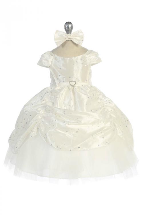 4e0f531ebb CA B596IV - Girls Dress Style 596 - IVORY Short Sleeve Satin Dress with Sequin  Detailing - Calla Collection - Flower Girl Dresses - Flower Girl Dress For  ...