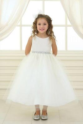c27a9152bfc Girls Dress Style D754 - IVORY Sleeveless Satin and Organza Dress with  Embellished Rhinestone Waist