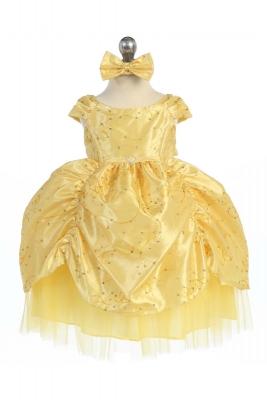 Yellows flower girl dresses flower girl dress for less girls dress style 596 yellow short sleeve satin dress with sequin detailing mightylinksfo