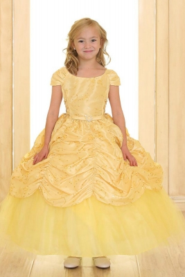 Yellows flower girl dresses flower girl dress for less girls dress style 596 yellow short sleeve satin dress with sequin detailing mightylinksfo
