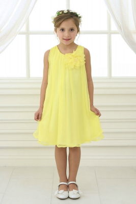 Yellows flower girl dresses flower girl dress for less girls dress style cj104 yellow sleeveless pleated chiffon dress mightylinksfo