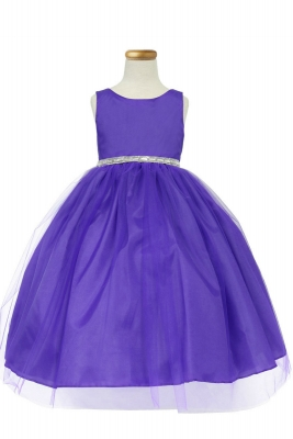 77ce545bc0b Girls Dress Style D754 - PURPLE Sleeveless Satin and Organza Dress with  Embellished Rhinestone Waist