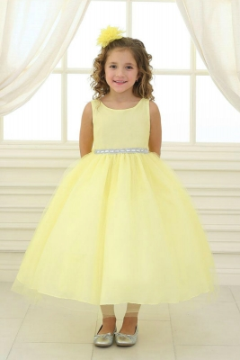 cc0aa27b145 Girls Dress Style D754 - YELLOW Sleeveless Satin and Organza Dress with  Embellished Rhinestone Waist