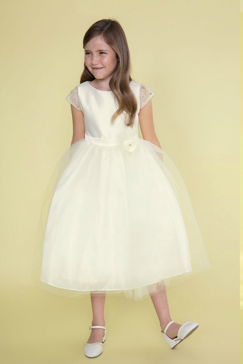 34a49150c CA D764IV - Girls Dress Style D764 - Cap Sleeve Satin and Tulle ...