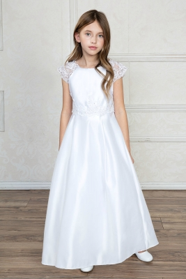 b0ca340c98e Girls Dress Style D765 - SALE- WHITE SIZE 10 OR IVORY SIZE 8