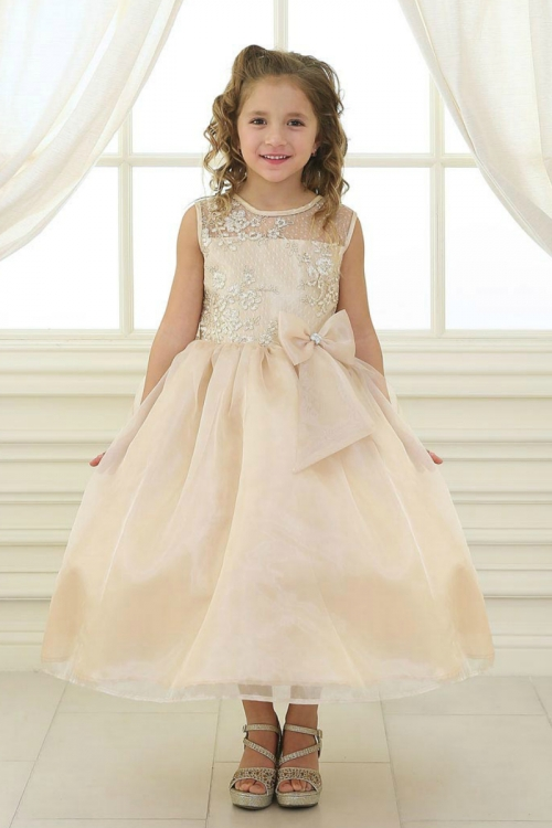 ee5c150c1 Girls Dress Style KD2461 - CHAMPAGNE Organza Dress with Sheer Illusion  Neckline and Floral Appliques