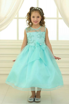 7ce7d9ae0e6 Girls Dress Style KD2461 - MINT Organza Dress with Sheer Illusion Neckline  and Floral Appliques
