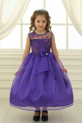 1181394725f Girls Dress Style KD2461 - PURPLE Organza Dress with Sheer Illusion  Neckline and Floral Appliques