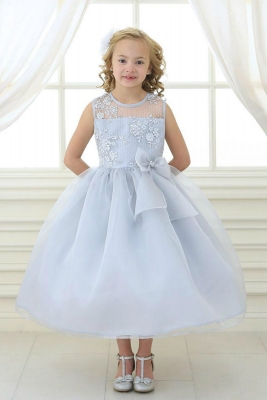768c300ed Girls Dress Style KD2461 - SILVER Organza Dress with Sheer Illusion Neckline  and Floral Appliques