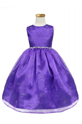 f1c498932aa Girls Dress Style KD2463 - PURPLE Sleeveless Dress with Glitter Flocking